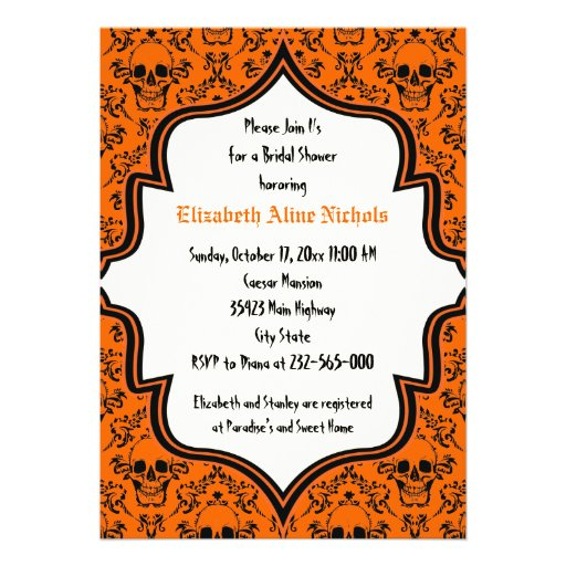 "Halloween Wedding Gift Ideas: Skulls Damask Halloween Wedding Bridal Shower 5"" X 7"