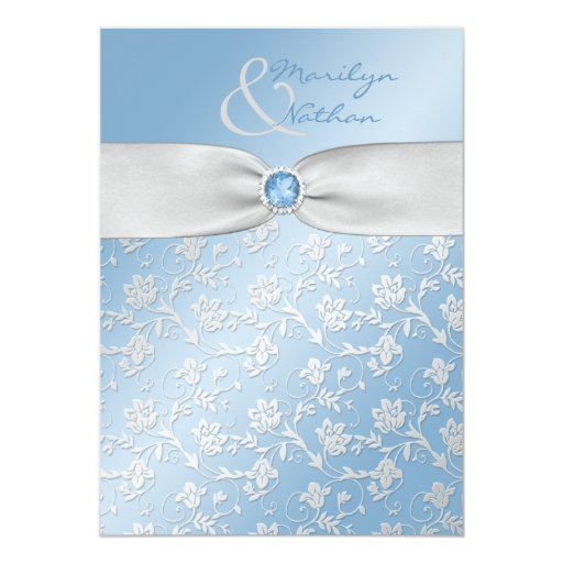 Wedding Invitations Blue And Silver: Sky Blue And Silver Floral Wedding Invitation