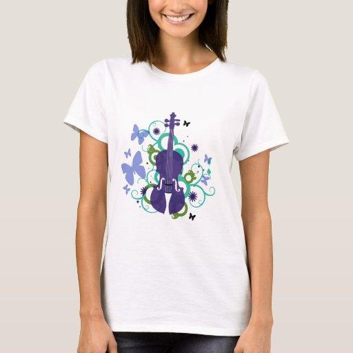Sky Violin and Purple Butterflies T-Shirt