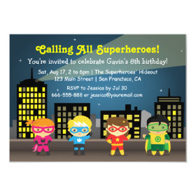 Skyline Superhero Birthday Party For Kids 45x625 Paper Invitation Card