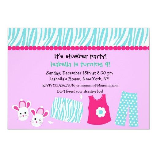leopard print invitations templates - sleepover zebra print birthday party invitations zazzle