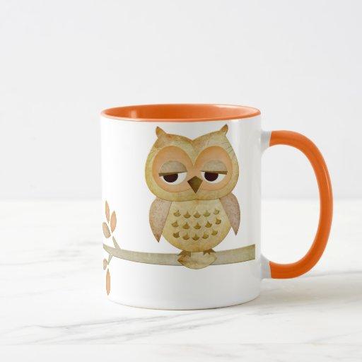 Sleepy Owl In Tree Mug Zazzle