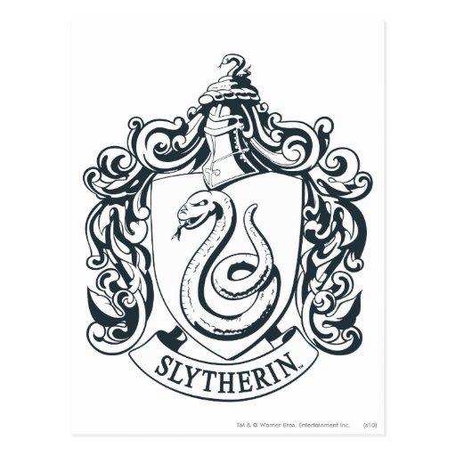 Slytherin Crest Black And White Slytherin crest post card
