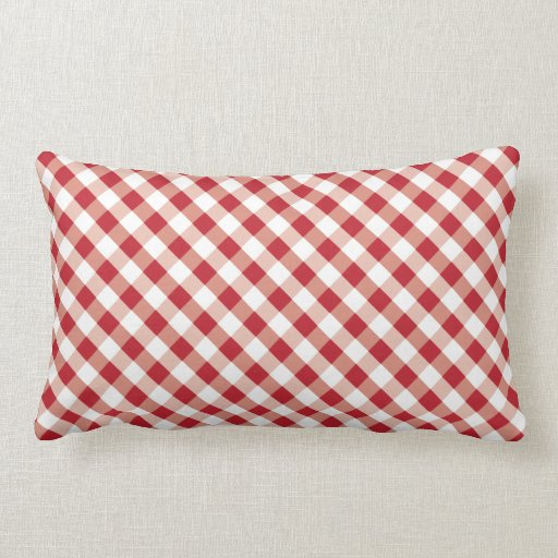 Small Red And White Gingham Pattern Pillow Zazzle