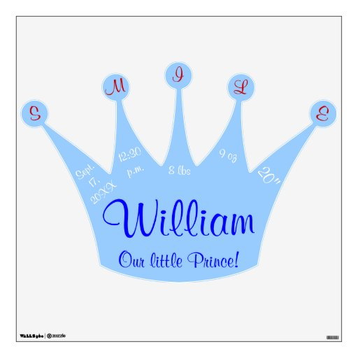 Smile The Little Prince: Smile Little Prince Blue Crown Baby Stats Wall Stickers