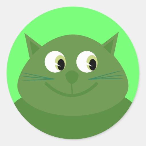 Smiling green cartoon cat stickers | Zazzle