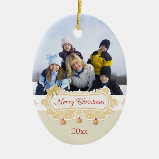 Snowflakes Merry Christmas banner photo ornament | Zazzle