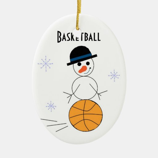 Snowman Basketball Player Double Sided Oval Ceramic