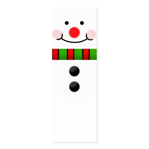 Snowman bookmark double sided mini business cards pack of for Double sided bookmark template