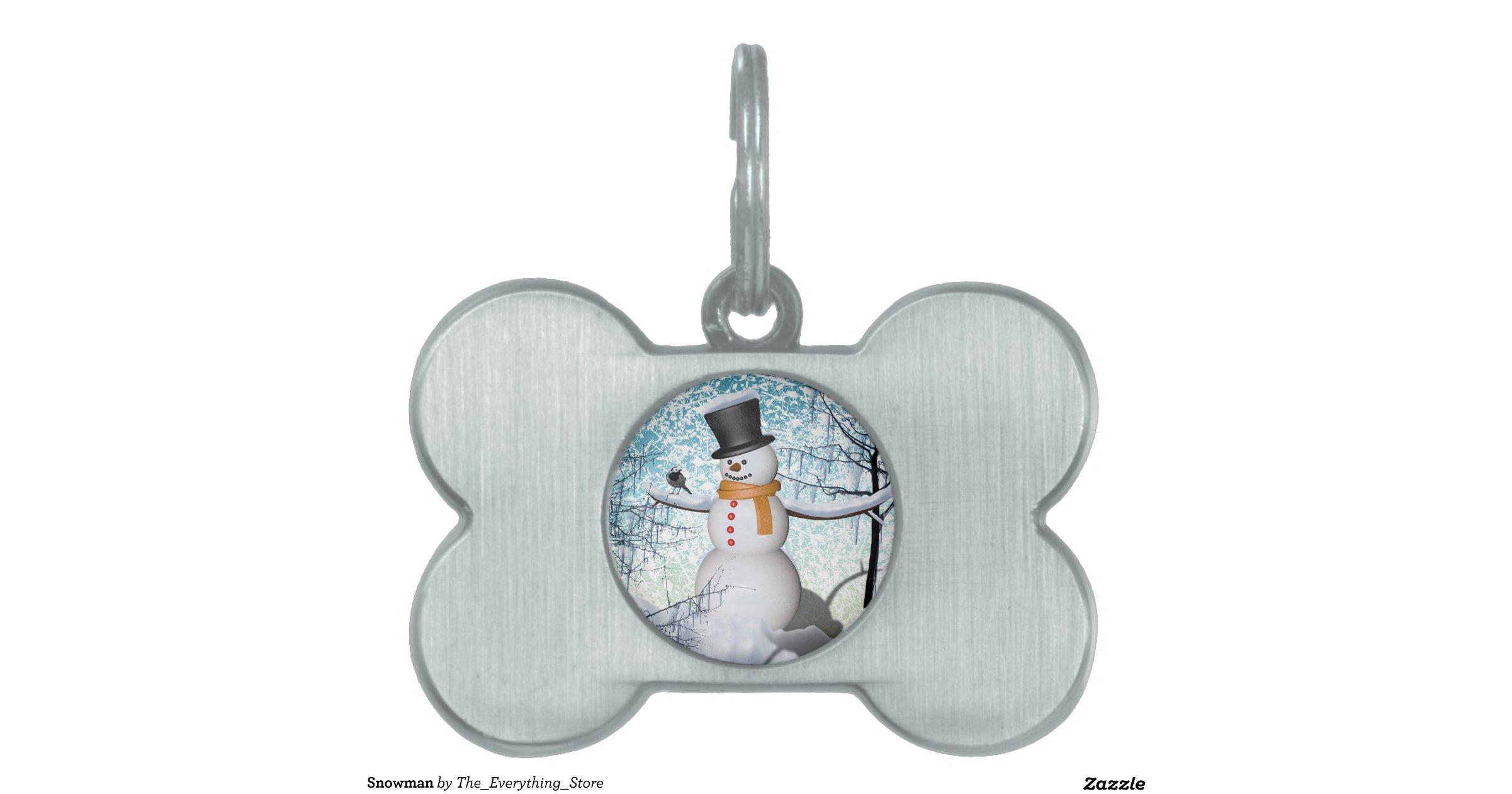 Snowman Pet Name Tags | Zazzle