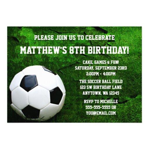 "Soccer Birthday Party Invitations 5"" X 7"" Invitation Card"