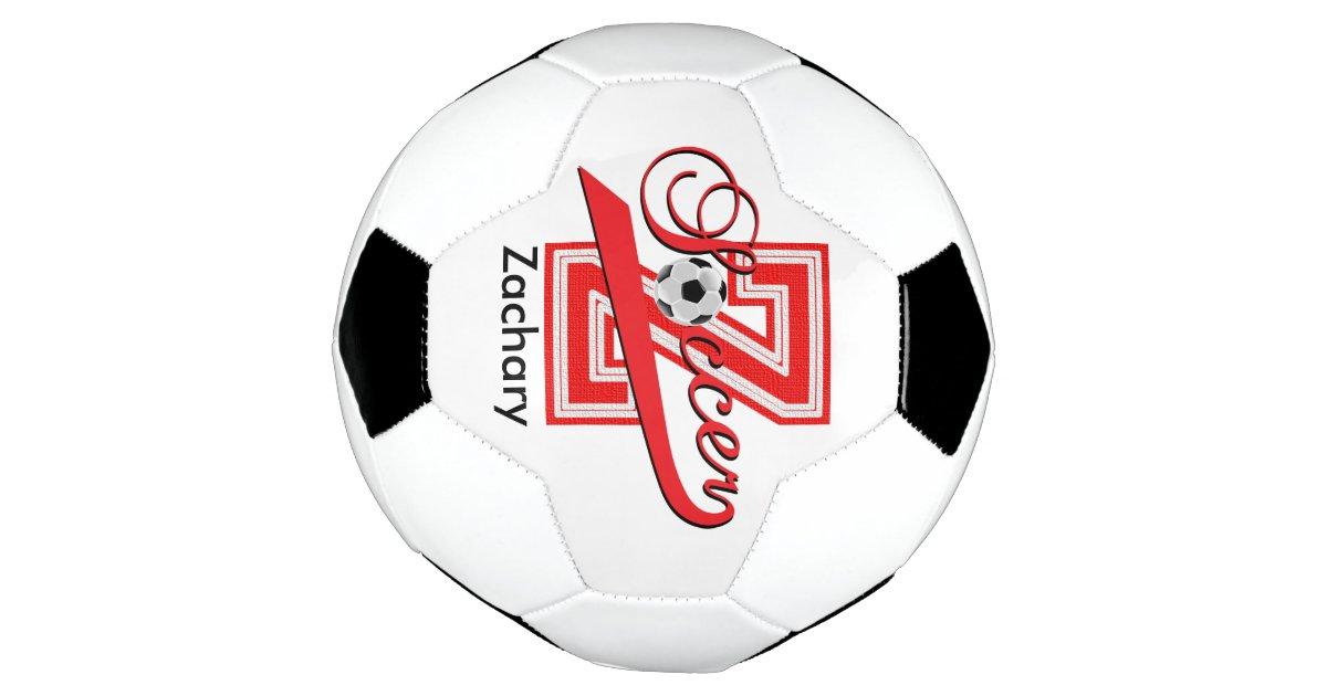 Soccer Letter Z Word Art | DIY Name | Red Soccer Ball | Zazzle