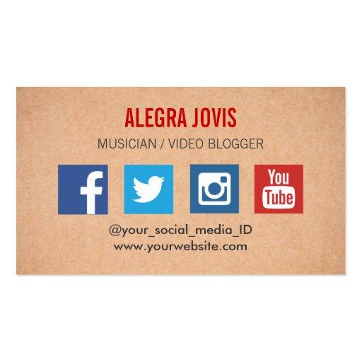 Social Media Musician You Business Card Template