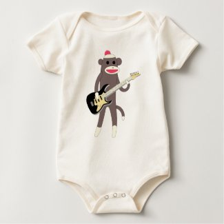 Sock Monkey Rocks with Electric Guitar - Baby Baby Bodysuits
