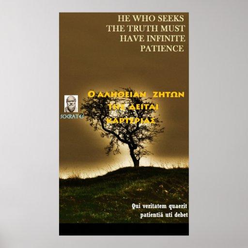 Socrates famous quote - True needs patience Poster | Zazzle
