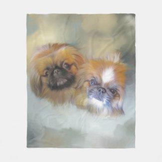 Soft Pekingese Duo Fleece Blanket