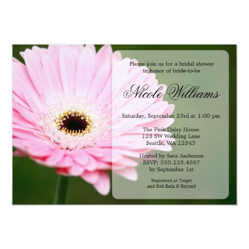 Soft Pink And Green Gerbera Daisy Bridal Shower 5x7 Paper
