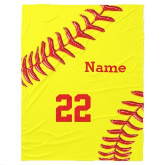 Softball Fleece Blankets with NAME and NUMBER Fleece Blanket