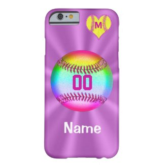 Softball iPhone 6 Cases Your Name Number Monogram Barely There iPhone 6 Case