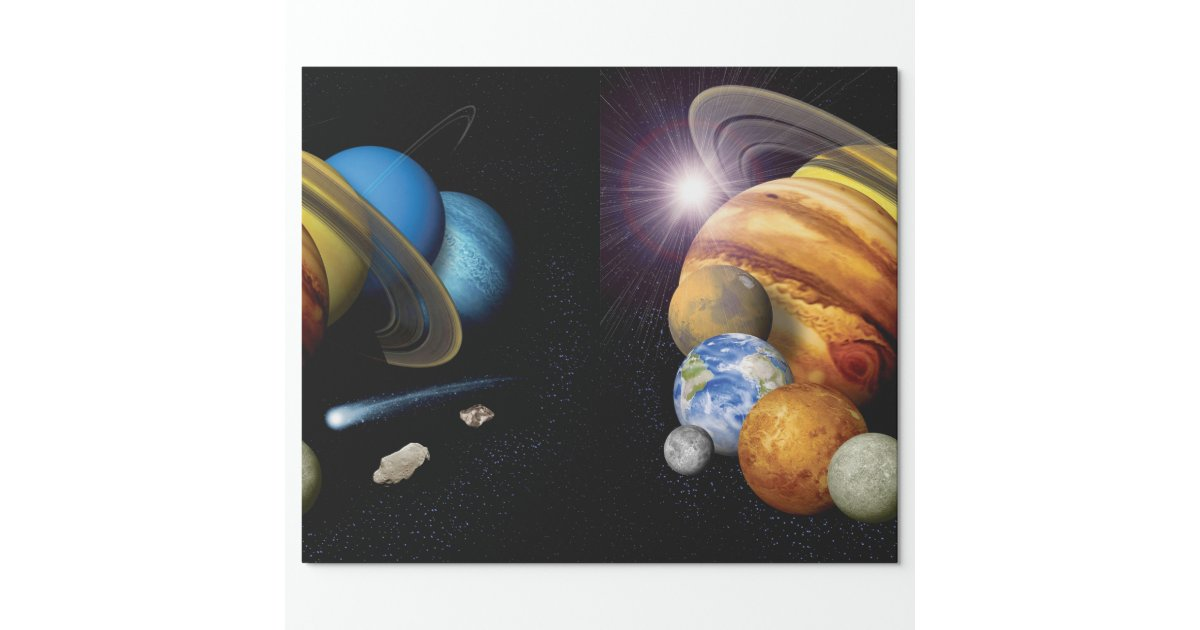 Solar System Montage Wrapping Paper | Zazzle