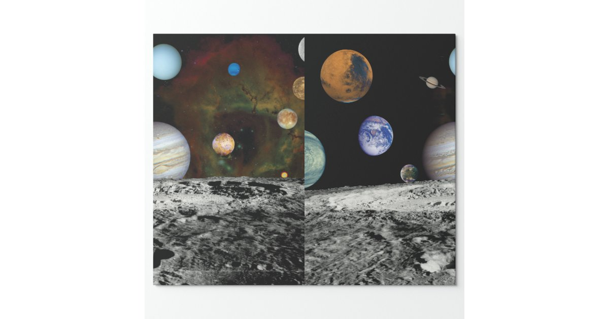 Solar System Voyager Images Montage Wrapping Paper | Zazzle