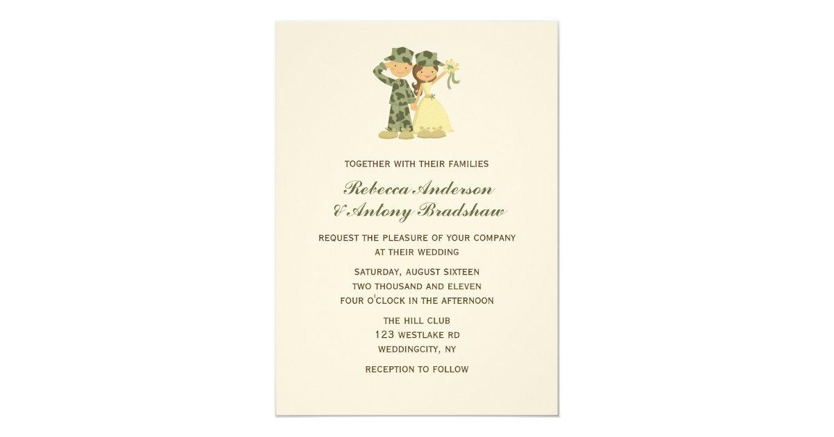Army Wedding Invitations: Soldier And Bride Wedding Invitations