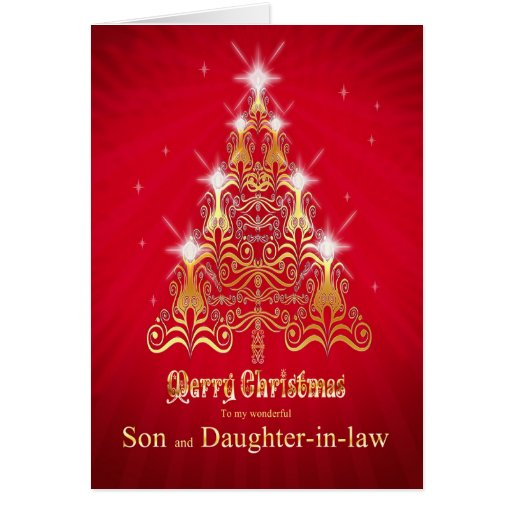 Son And Daughter In Law Christmas Tree Card Zazzle