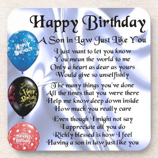 Son in Law poem - Happy Birthday Design Drink Coaster   Zazzle