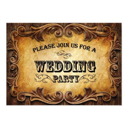 Western Wedding Invitations: Sophisticated CowBoy Western Wedding Invitation