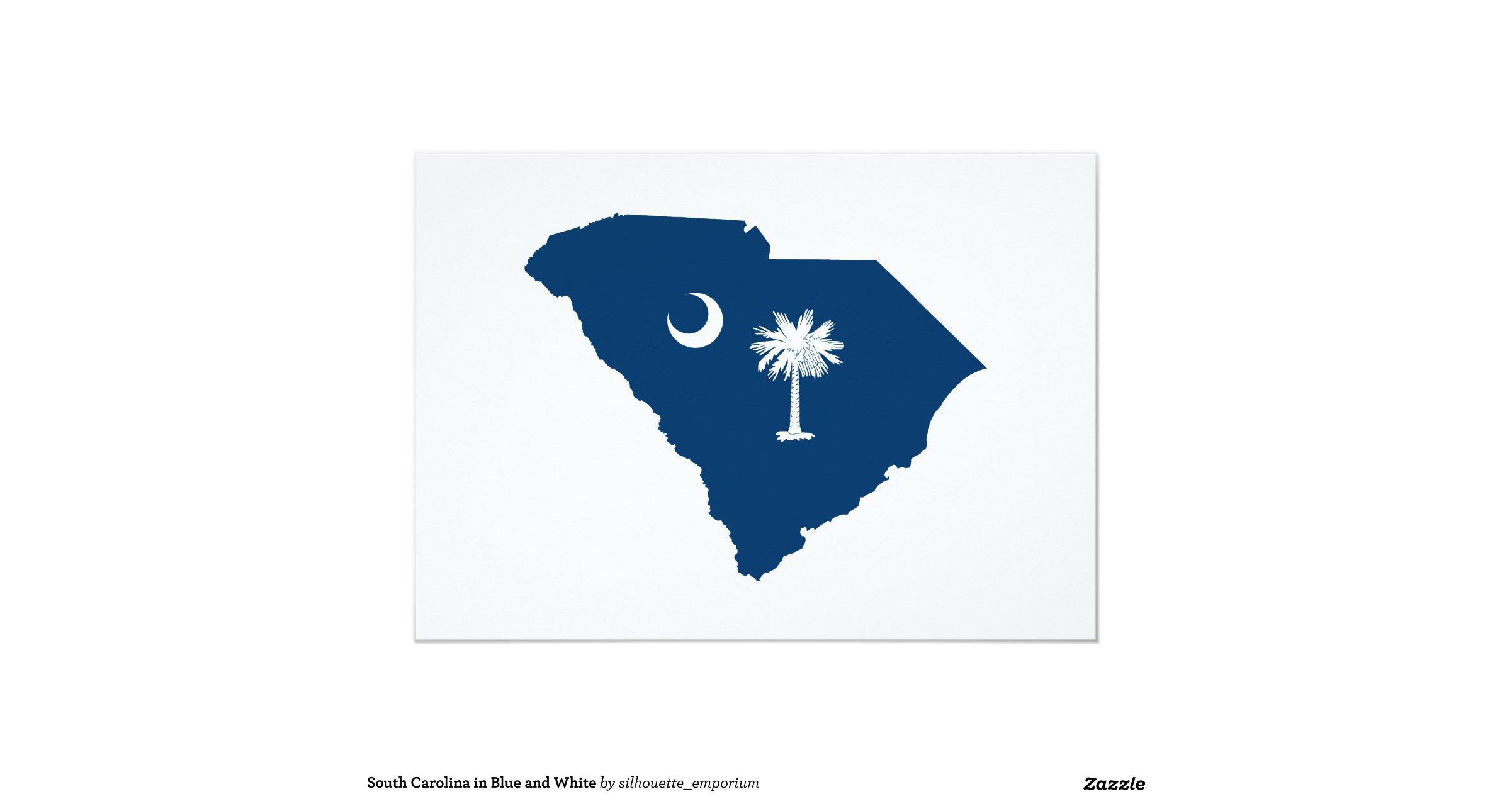 South Carolina in Blue and White 5x7 Paper Invitation Card ...