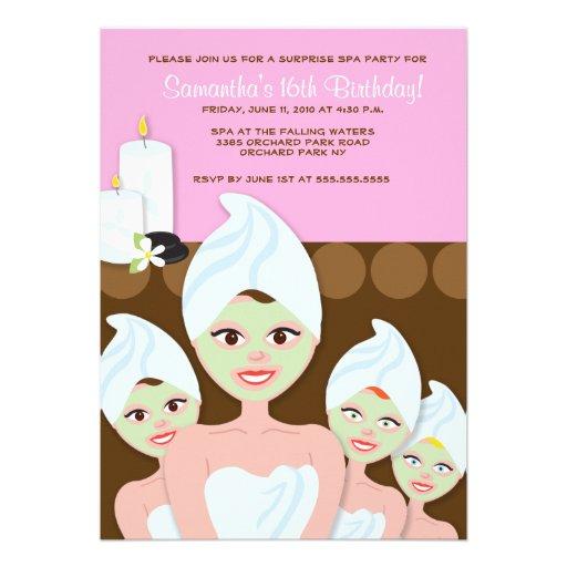Personalized Pamper Party Invitations   CustomInvitations4U com