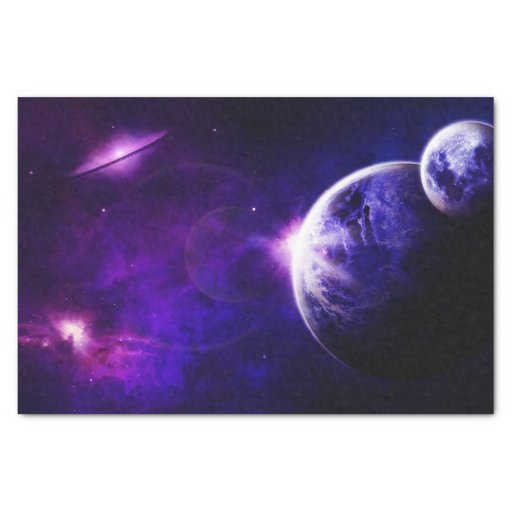 "Space Galaxy Planets Stars in Purple Blue Tones 10"" X 15 ..."