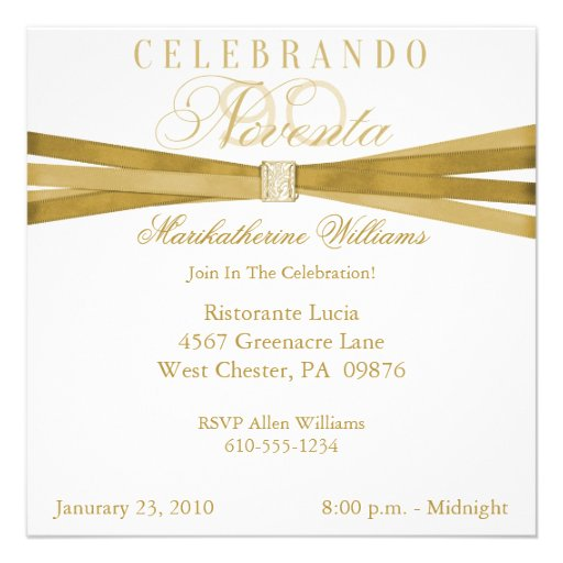 Spanish Elegant 90th Birthday Party Invitations 5.25