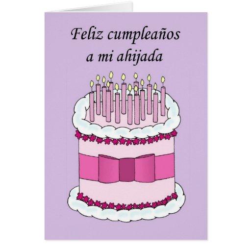 Spanish Goddaughter Happy Birthday Greeting Card