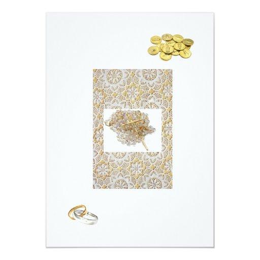 "Wedding Invitations Spanish: Spanish Wedding Invitation ""Gold Bands & Coins"""