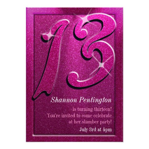 "Sparkle Pink 13th Birthday Party Invitations 4.5"" X 6.25"