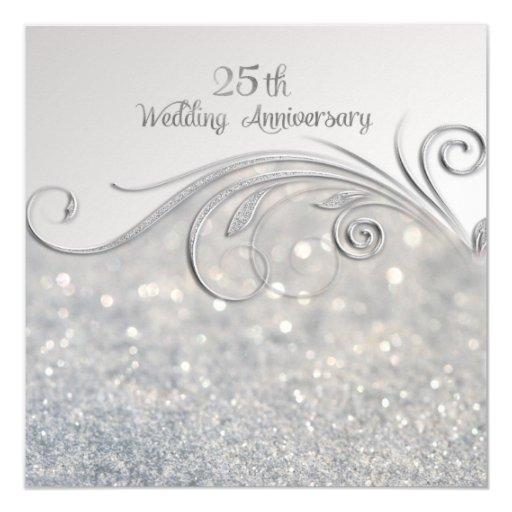 25 Wedding Anniversary Gift: Sparkle Silver 25th Wedding Anniversary Card