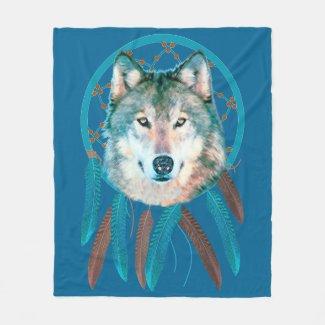 Spirit Wolf Dream Catcher Fleece Blanket
