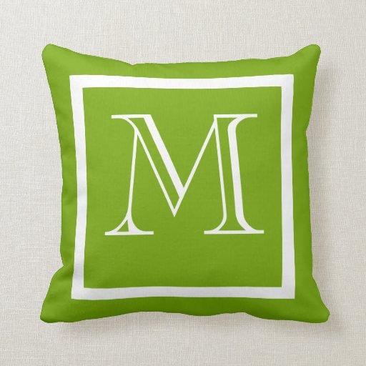 Spring Green Positive Negative Monogrammed Pillow Zazzle