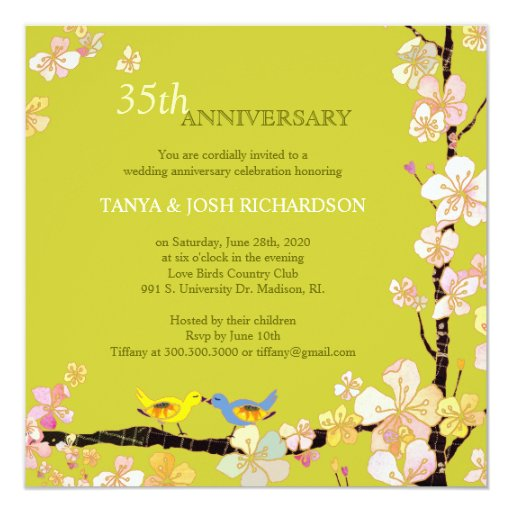 Spring Love Birds 35th Wedding Anniversary Card