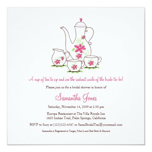 Square tea set bridal shower invitations pink card zazzle for Morning tea invitation template free