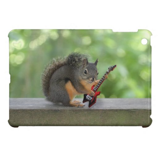 Squirrel Playing Electric Guitar iPad Mini Covers | Zazzle
