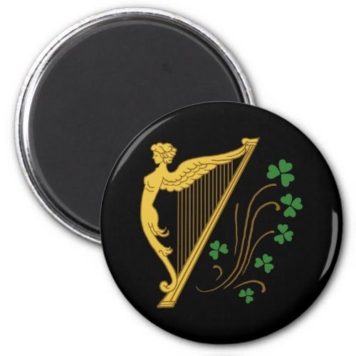 St Patrick's Day Gold Harp and Shamrocks Round Magnet