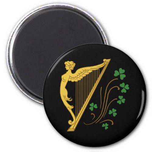St Patrick's Day Gold Harp and Shamrocks Round Magnet