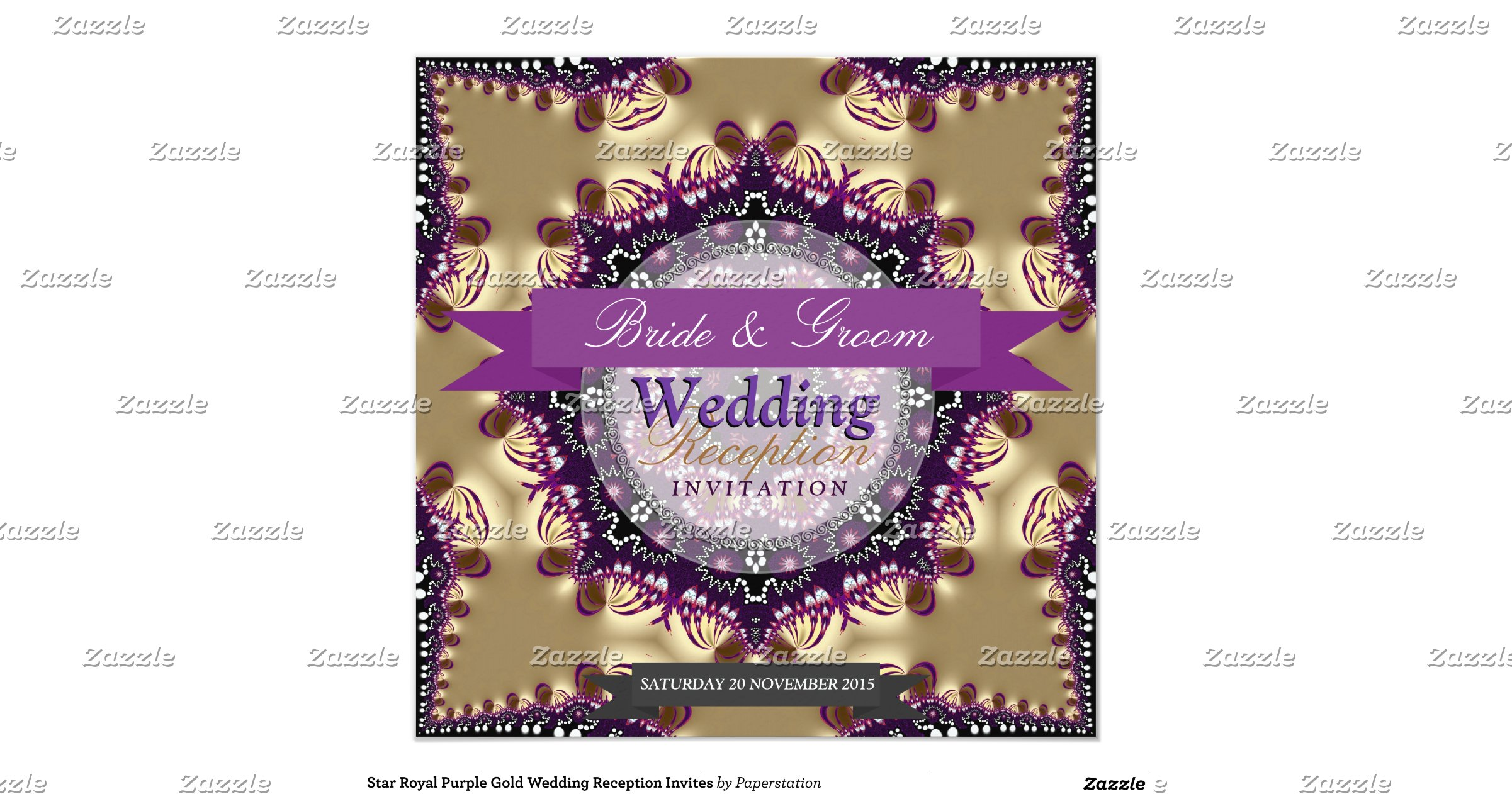 Royal Blue And Gold Wedding Invitations: Star Royal Purple Gold Wedding Reception Invites 5.25