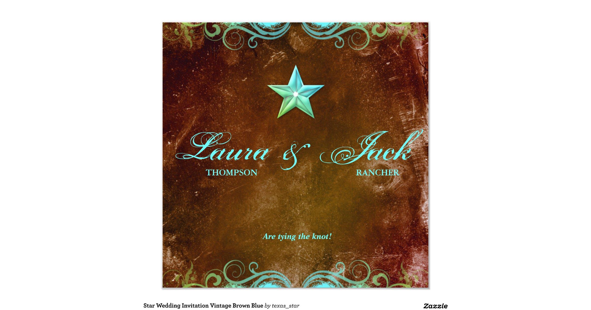 Star Wedding Invitations: Star_wedding_invitation_vintage_brown_blue