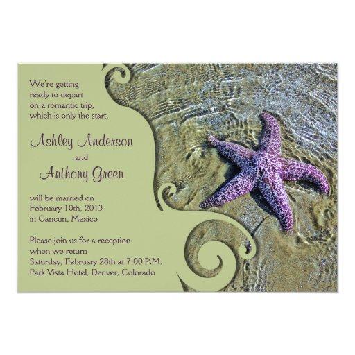 "Wedding Reception Only Invitations: Starfish Beach Post Wedding Reception Only 5"" X 7"