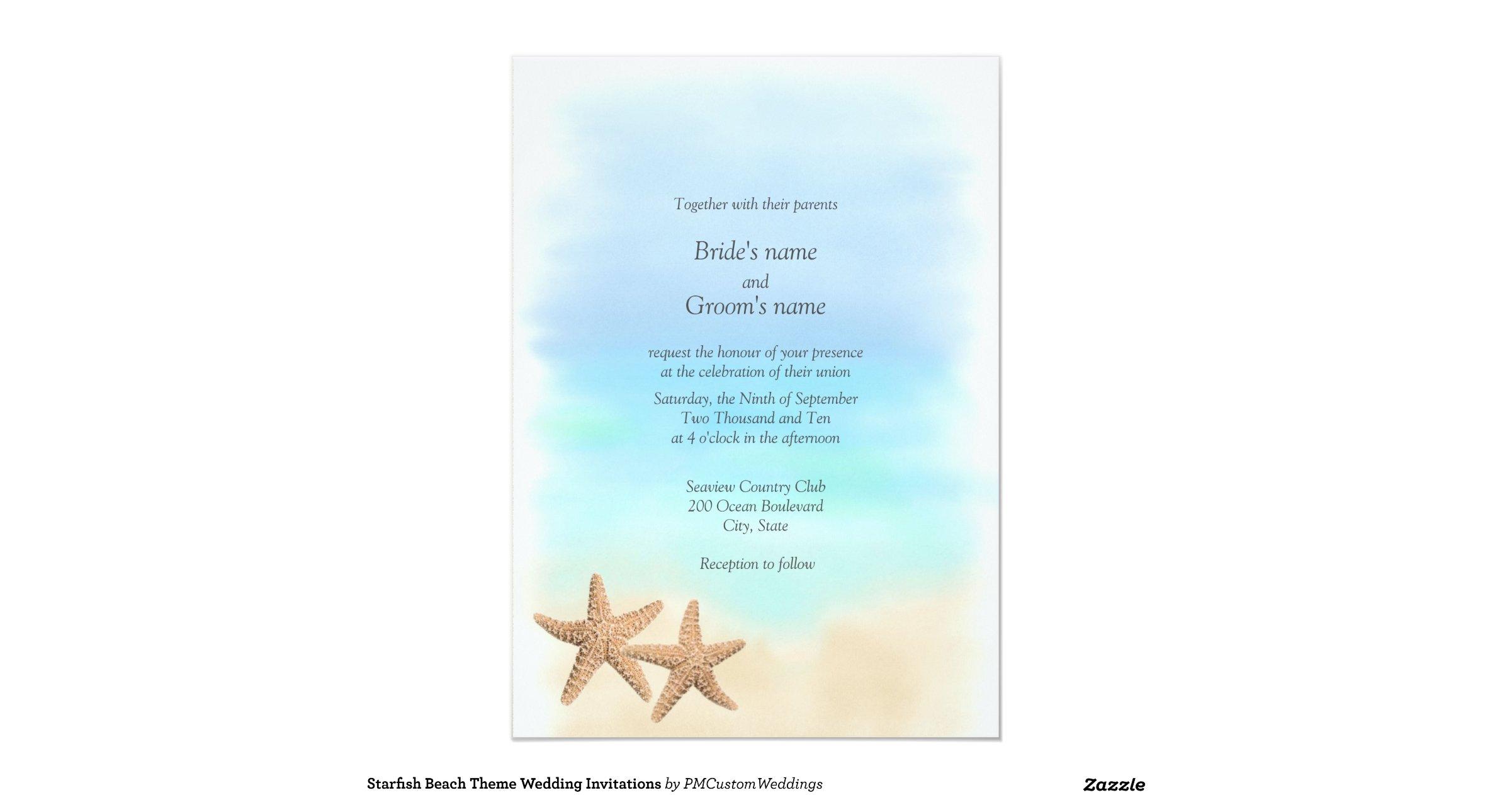 Beach Theme Wedding Invitation: Starfish_beach_theme_wedding_invitations