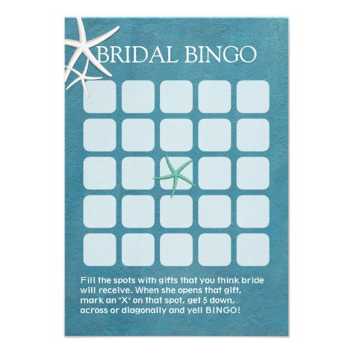Starfish Beach Wedding Bridal Shower Bingo Cards 35 X 5 Invitation zUBvTqMl