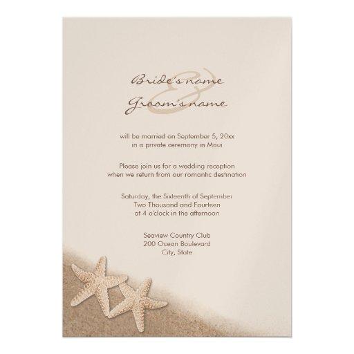 "Wedding Reception Only Invitations: Starfish Wedding Reception Only Invitations 5"" X 7"